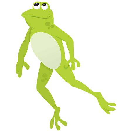 green cute: A cartoon illustration of a green cute frog looking up.