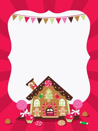 casita de dulces: Una ilustración de la casa de pan de jengibre cinta copia espacio de fondo. Ideal para tarjetas de felicitación de navidad, invitaciones, o la comercialización de anuncios.
