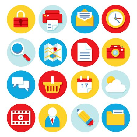 A illustration set of 16 different useful clean and flat icons.