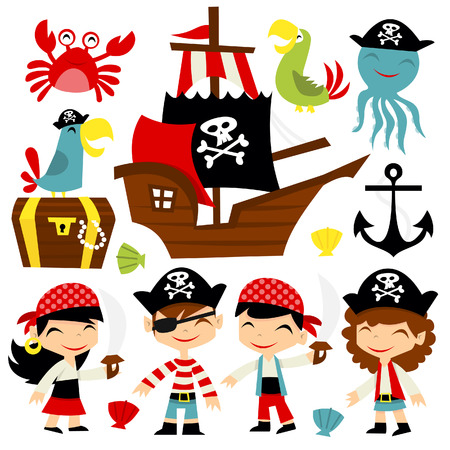 A cartoon illustration of retro pirate adventure theme set. Included in this set:- boy pirate, girl pirate, pirate ship, parrots, treasure chest, octopus and crab.