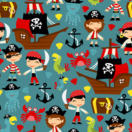 cartoon parrot: A illustration of retro pirate adventure seamless pattern background.