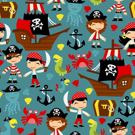 A illustration of retro pirate adventure seamless pattern background.