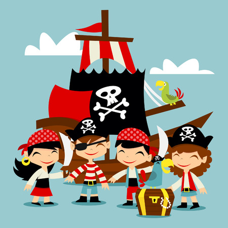 A illustration of retro pirate adventure kids scene.