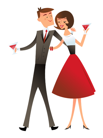 A illustration of retro mid century modern cocktail couple.