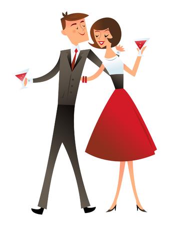 mid century modern: A illustration of retro mid century modern cocktail couple. Illustration