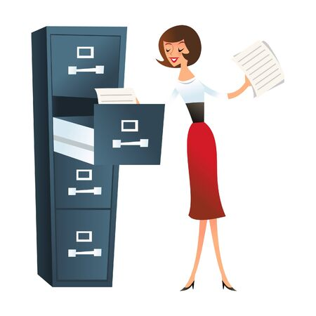 filing: A illustration of happy secretary girl filing paperwork in filing cabinet.
