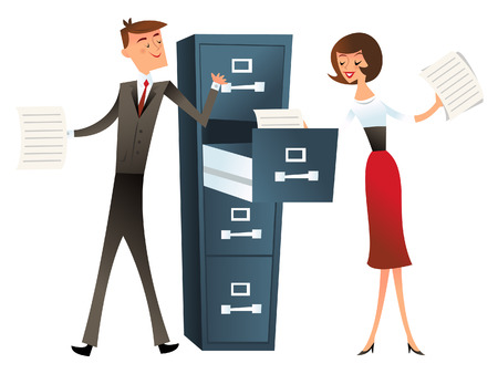 A illustration of a business man and woman with a filing cabinet. This illustration is done in the style of retro mid century modern. Vector