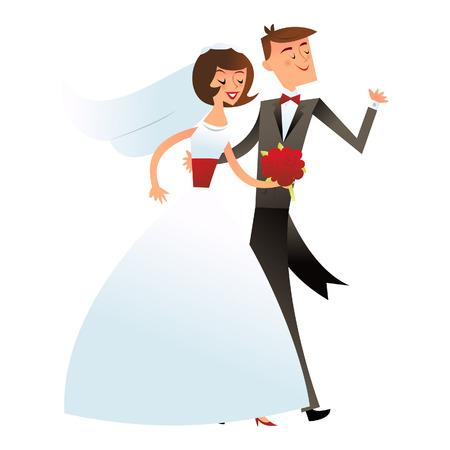 Een illustratie van een gelukkig huwelijk paar of een bruid en bruidegom in retro midden van de eeuw moderne stijl.