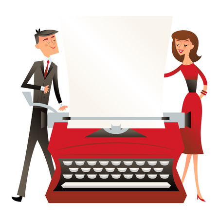 A illustration of a business man and woman standing behind a large vintage typewriter in retro mid century modern style.