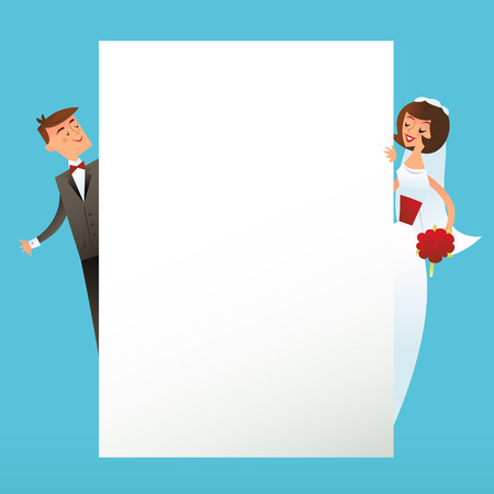 mid century modern: A illustration of retro mid century modern inspired happy wedding couple behind a blank white paper background.