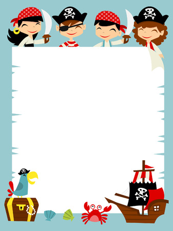 A illustration of a retro pirate adventure theme blank scroll message copy space background.