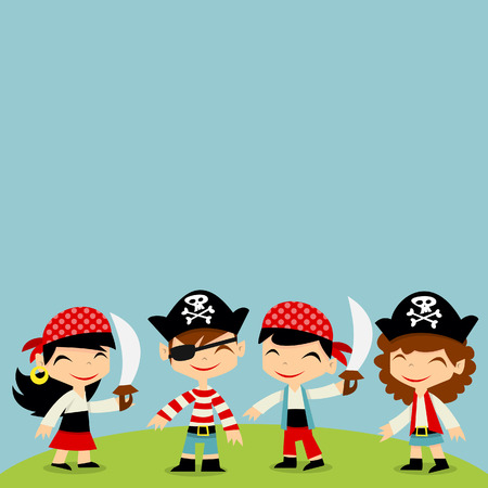 adventure story: A illustration of a retro pirate adventure theme with four little pirates standing on an island with sky as copy space background.