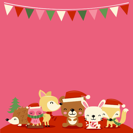 A illustration of cute christmas woodland creature with party buntings and blank copy space celebrating the special holidays. Vector