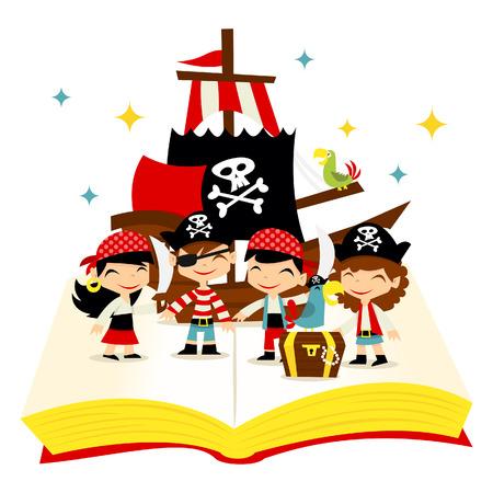 Een cartoon illustratie van schattige grillige verhaal boek gevuld met piraat meisjes en jongens piraat, piratenschip en schatten. Stock Illustratie