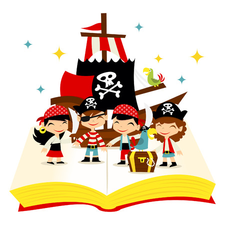 A cartoon illustration of cute whimsical story book filled with pirate girls and pirate boys, pirate ship and treasures.
