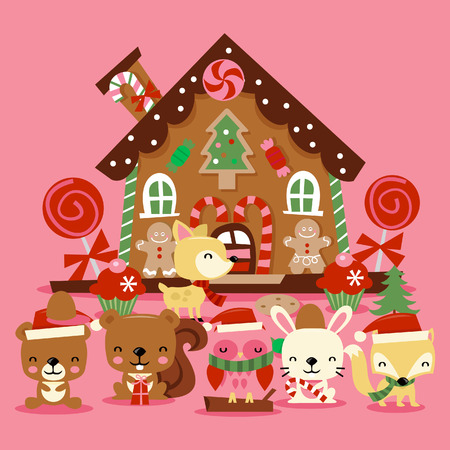 A illustration of various cute christmas woodland creatures like bears, owl, fox and more celebrating the christmas holiday in front of a cute whimsical gingerbread house. Illustration