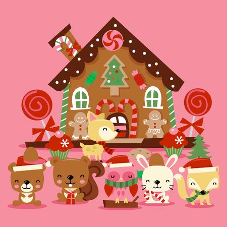 osos navideños: Una ilustración de varias criaturas del bosque navidad lindos como los osos, búho, zorro y más para celebrar la fiesta de Navidad en frente de una casa de jengibre caprichosa linda.