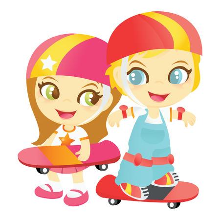 skateboard park: Un ejemplo de la historieta de los ni�os lindos felices jugando con patinetas mientras lleva sus cascos protectores y engranajes.