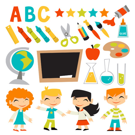 ruler: A illustration of retro kids back to school set. This set includes four cute preschool kids, art and crafts items and education tools.