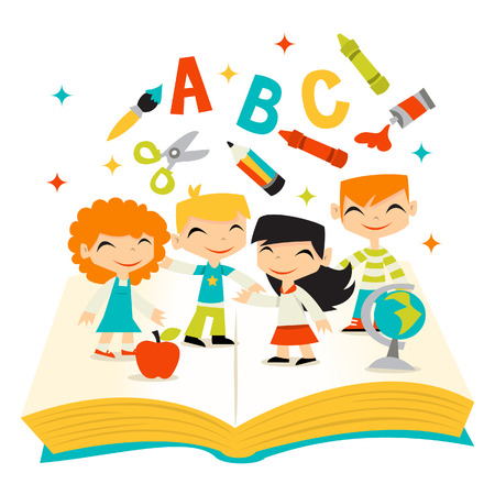 A illustration of whimsical retro kids happy learning on a giant book with school items.