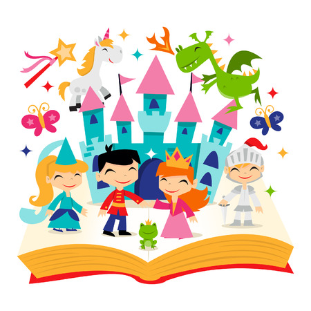 A cartoon illustration of cute retro magical fairy tale kingdom story book. It\'s filled with unicorn, dragon, princesses, castle and more.