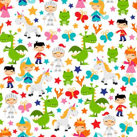 A cartoon illustration of retro magical fairy tale kingdom seamless pattern background.