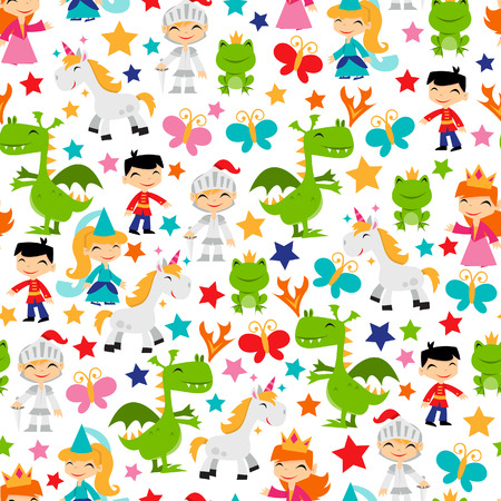 A cartoon illustration of retro magical fairy tale kingdom seamless pattern background.