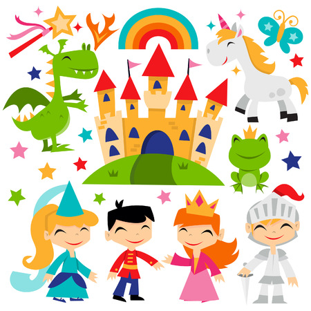 A cute cartoon illustration of retro magical fairy tale kingdom theme set. Çizim