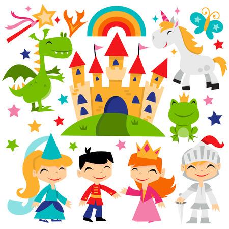castillos de princesas: Una ilustración de dibujos animados lindo cuento de hadas conjunto tema reino mágico retro. Vectores