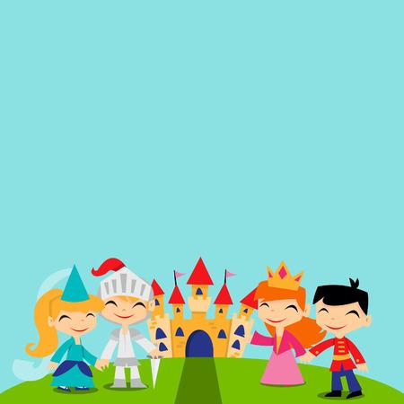 adventure story: A cartoon illustration of cute retro magical fairy tale kingdom copy space background. Illustration