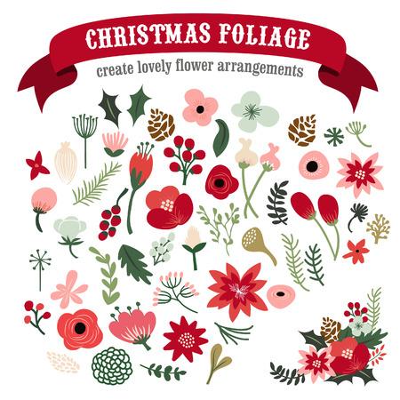 formal garden: A illustration of vintage hand drawn christmas botanical foliage set. Illustration