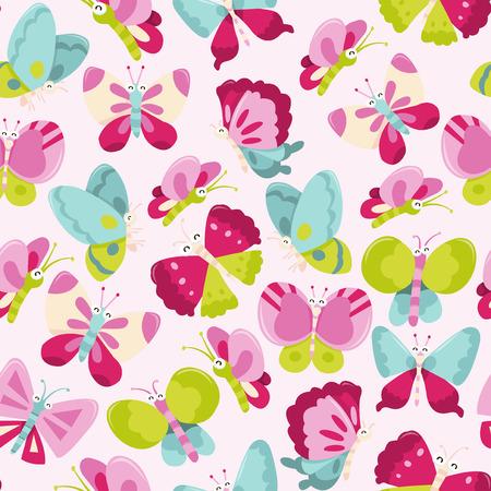 mariposa caricatura: Una ilustración vectorial de dibujos animados de feliz mariposas dulces tema de fondo sin fisuras patrón.