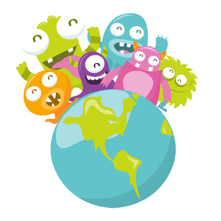 silly: A cartoon vector illustration of happy silly monsters world.