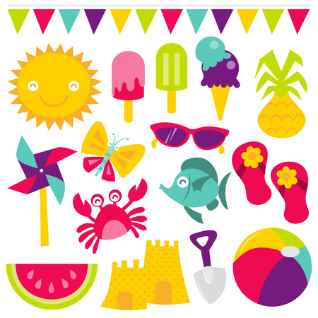 A retro vector illustration of cute summer time fun theme design clip arts. Included in this set: bunting, sun, ice cream, ice lolly, pineapple, pinwheel, butterfly, sunglasses, sandal, crab, fish, watermelon, sand castle, spade and beach ball. Vector