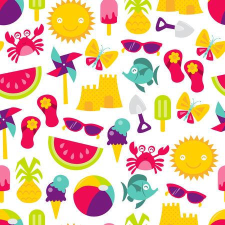 かわいい夏の時間のレトロなベクトル イラストの楽しいテーマのシームレスなパターンの背景。