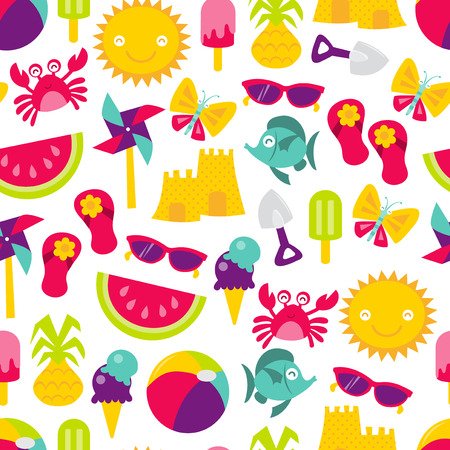 A retro vector illustration of cute summer time fun theme seamless pattern background. Иллюстрация