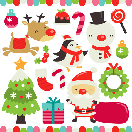 decor: A vector illustration of a retro cute christmas set. Included in this set:- christmas ornaments, christmas pudding, candy cane, lollipop, reindeer, snowman, mistletoe, penguin, christmas tree, christmas stocking, christmas wreath, gifts and santa.
