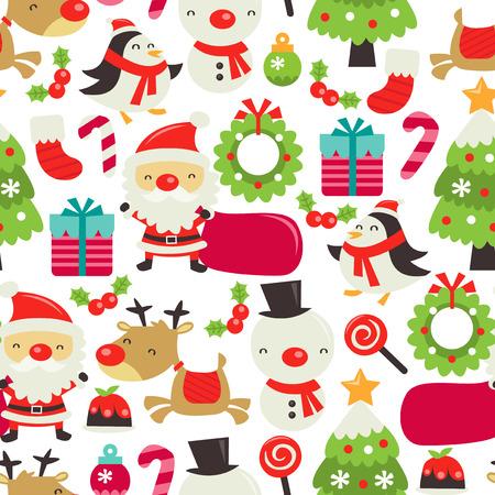 レトロなかわいいクリスマス テーマのシームレスなパターン背景のベクトル イラスト。