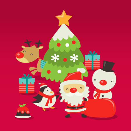 a vector illustration of retro cute christmas scene with santa claus christmas tree reindeer