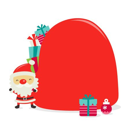 toy sack: A cartoon vector illustration of a cute retro santa clause with a big red toy sack as copy space.