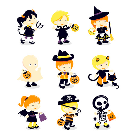A cartoon vector illustration set of nine cute kids in different halloween costume like devil, vampire, witch, ghost, cowboy, cat, bat girl, pirate and skeleton.