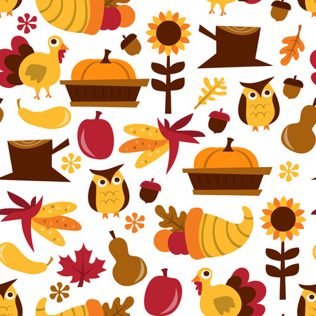 レトロな秋の収穫のテーマ パターン背景のベクトル イラスト。