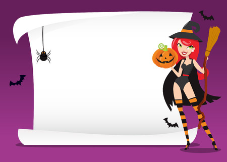 sexy witch: A cartoon vector illustration of a sexy witch holding a halloween pumpkin and broom in front of blank white scroll.
