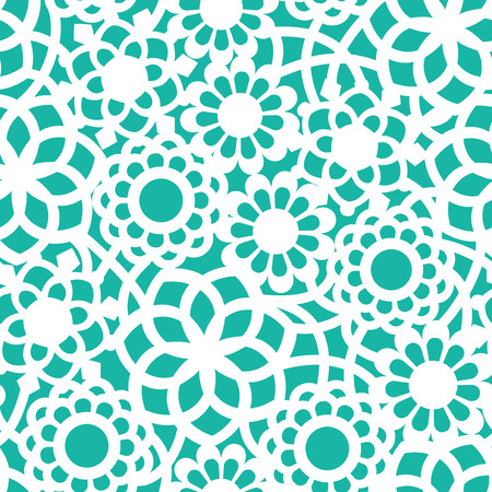 A vector illustration of floral filigree lace seamless pattern background. The teal background is separate from the lace layer and you can change the color easily. Vector