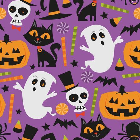 A vector illustration of retro theme haunted halloween seamless pattern background. Vector