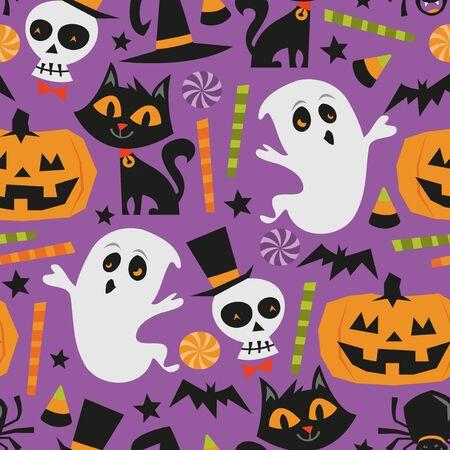 public celebratory event: A vector illustration of retro theme haunted halloween seamless pattern background.