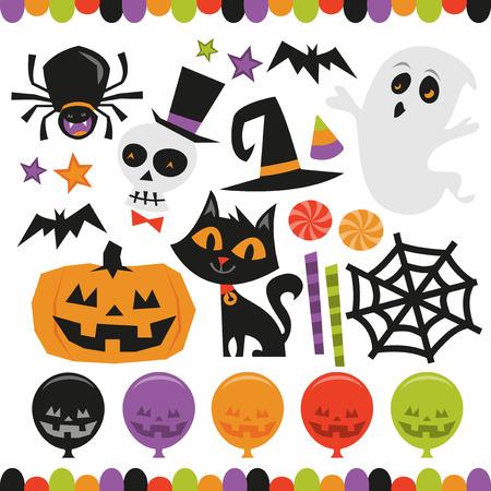 calavera caricatura: Un conjunto ilustración vectorial de tema retro halloween frecuentado conjunto gráfico. Incluido en este conjunto: - araña, cráneo, esqueleto, palo, gato, calabaza, fantasma, tela de araña, caramelos y globos. Vectores
