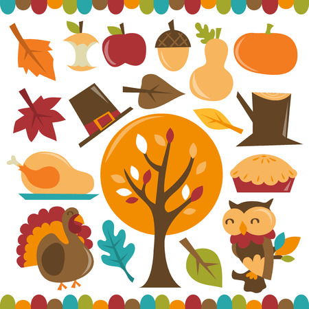 A retro whimsical vector illustration set of autumn festival theme characters and design elements. Included in this set:- Autumn leaves, turkey, owl, pumpkins, apple, pilgrim's hat, tree, pie, nut and leaves.