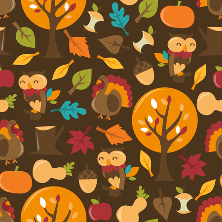 A retro whimsical vector illustration set of autumn festival theme seamless pattern background. Vector
