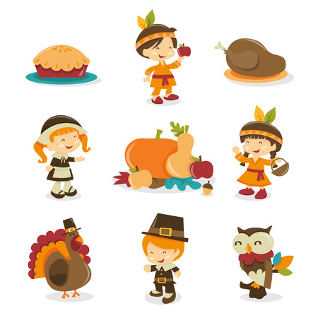 pilgrims: A cartoon vector illustration of a retro autumn festivalthanksgiving symbols and characters. Included in this set:- pie, indian boy, turkey dinner, pilgrim girl, harvest crop, indian girl, turkey bird, pilgrim boy and owl.